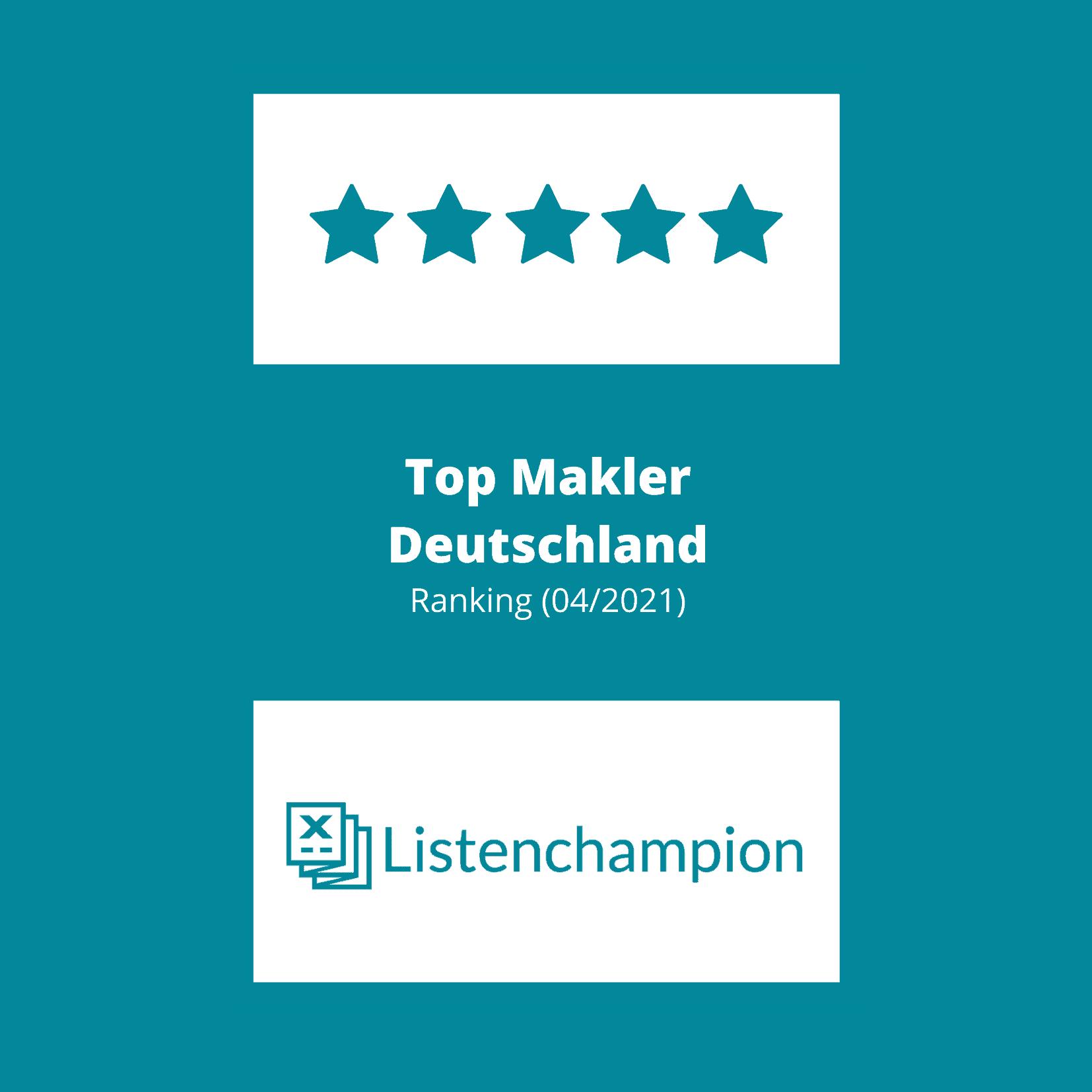 Liste der Top Makler in Deutschland Ranking 2021